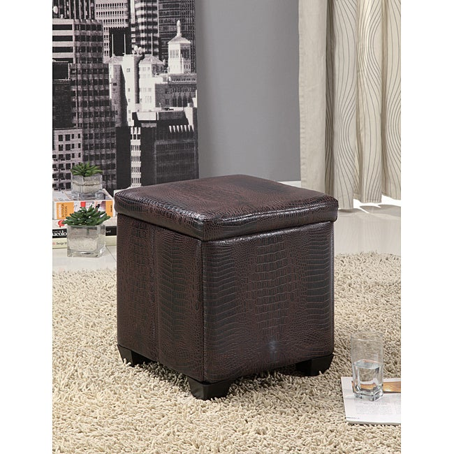 Crocodile Pattern Leather Storage Ottoman Stool - Thumbnail 0