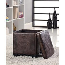 Crocodile Pattern Leather Storage Ottoman Stool - Thumbnail 1
