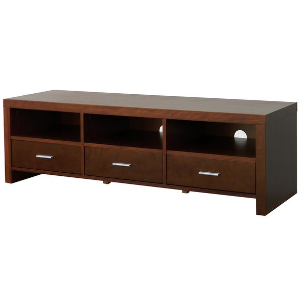 Guildford 58 Inch 3 Drawer Brown Wood Tv Console Free