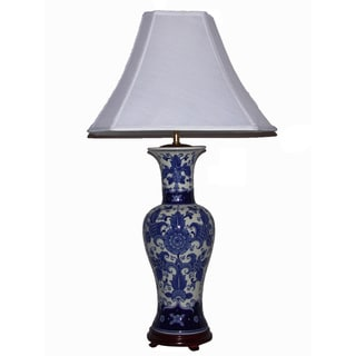 Crown Lighting Blue and White Tall Mum Floral Table Lamp