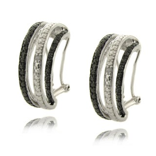 Finesque Silver Overlay Diamond Accent Black and White Semi-hoop Earrings
