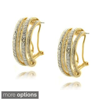 Finesque Gold or Silverplated Diamond Accent Semi-hoop Earrings (Option: Silver Overlay)