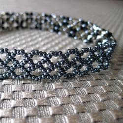 Handmade Stainless Steel Black and Brown Crystal Choker Necklace (USA) - Thumbnail 1