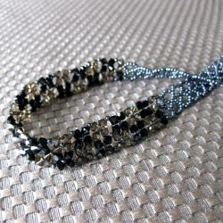 Handmade Stainless Steel Black and Brown Crystal Choker Necklace (USA) - Thumbnail 2