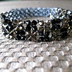 Handmade Stainless Steel Black and Brown Crystal Choker Necklace (USA)
