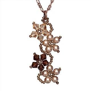 Coppertone Flower Crystal Necklace