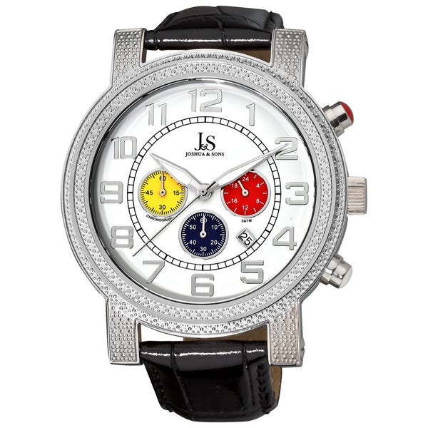Joshua & Sons Men's Stainless Steel Chronograph Leather Strap Watch