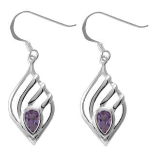 Sterling Silver Amethyst Teardrop Earrings (Thailand)