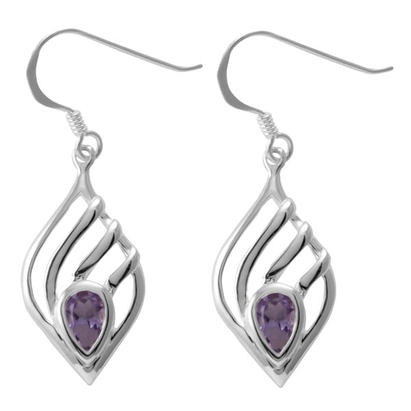 Handmade Sterling Silver Amethyst Teardrop Earrings (Thailand)
