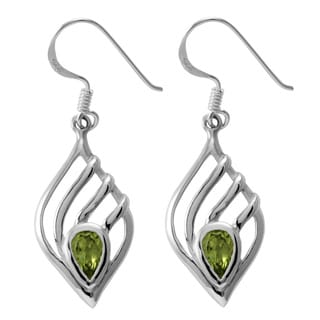 Handmade Sterling Silver Peridot Teardrop Earrings (Thailand)