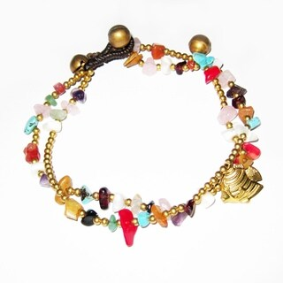 Goldtone Amethyst, Turquoise, Coral and Shell Anklet (Thailand)