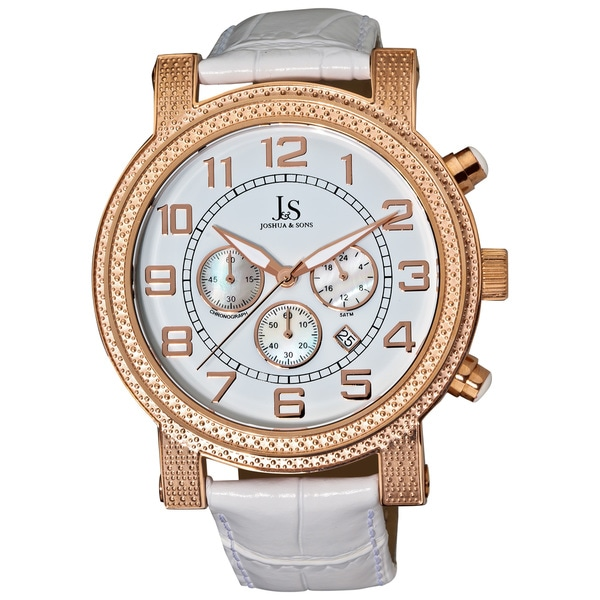 Joshua & Sons Men's Stainless-Steel Chronograph Strap Watch with White Dial