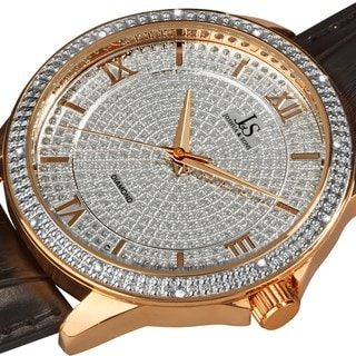 Joshua & Son's Men's Diamond Quartz Rose-Tone Strap Watch with FREE GIFT