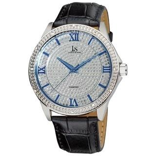 Joshua & Son's Men's Diamond Quartz Silver-Tone Strap Watch with FREE GIFT