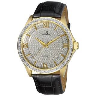 Joshua & Sons Men's Diamond Quartz Leather Gold-Tone Strap Watch