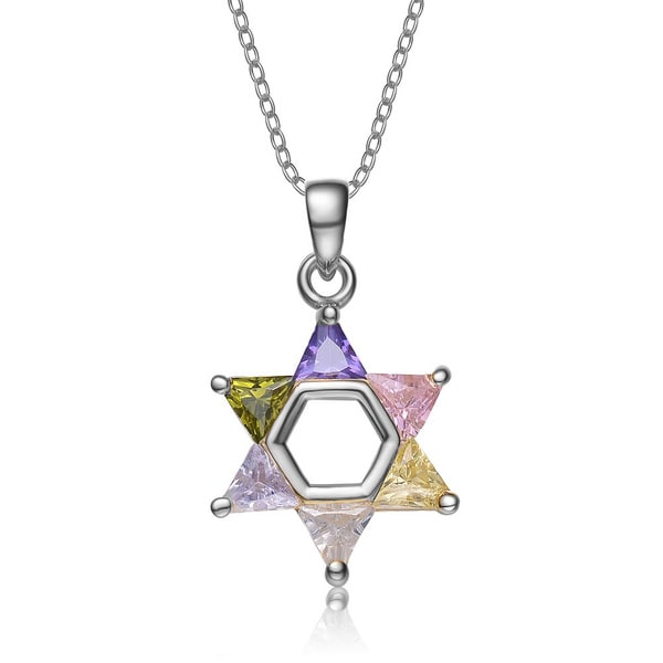 Collette Z Sterling Silver Multi-colored Cubic Zirconia Star of David Necklace