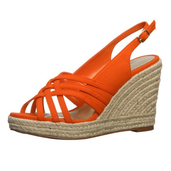Ann Marino Women's 'Jukebox' Coral Criss-cross Wedges FINAL SALE