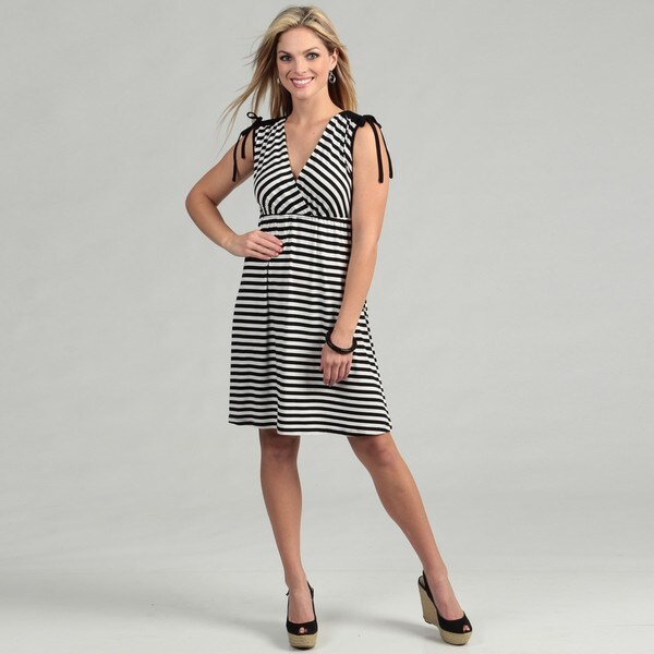 Spense Womens Striped Drawstring Shoulder Dress