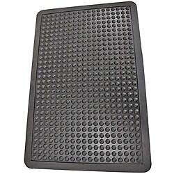 Rubber-Cal Bubble-Top Black Rubber Anti-Fatigue Mat