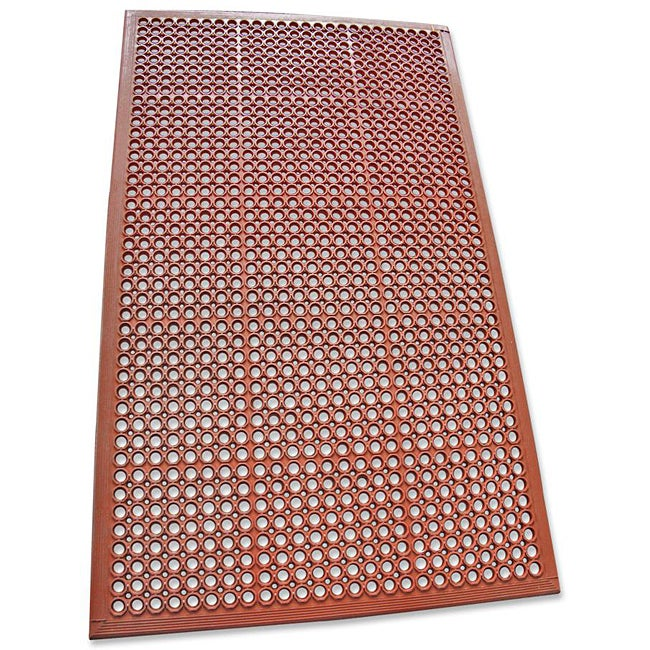 Rubber-Cal Dura-Chef Jr. Red Non-Slip Rubber Kitchen Mat