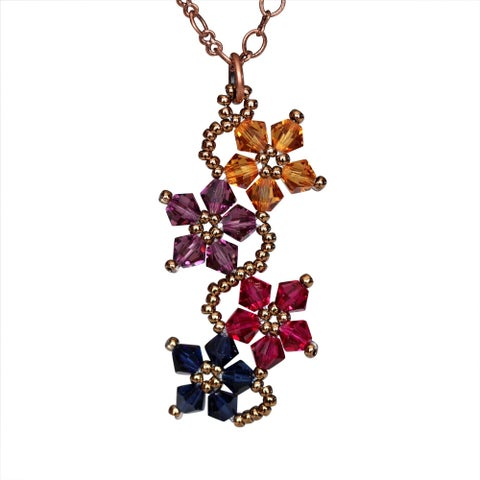 Copper Multicolored Crystal Flower Necklace