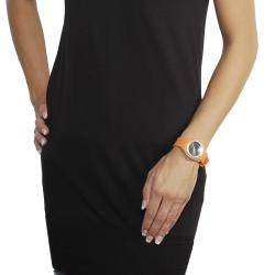 Geneva Platinum Women's Rhinestone-Accented Pumpkin-Orange Silicone Watch