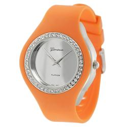 Geneva Platinum Women's Rhinestone-Accented Pumpkin-Orange Silicone Watch