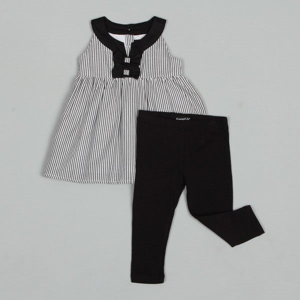 ABS Toddler Girl's Woven Striped Top with Solid Leggings Set
