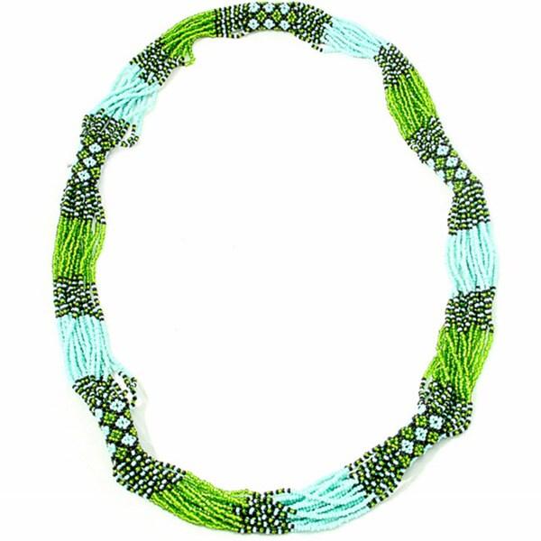 'Zul' Green Glass Bead Necklace (Guatemala)
