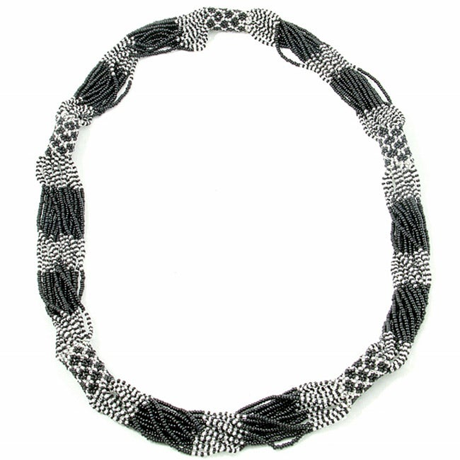 Glass Bead Geometric Long Necklace Black & Silver (Guatemala)