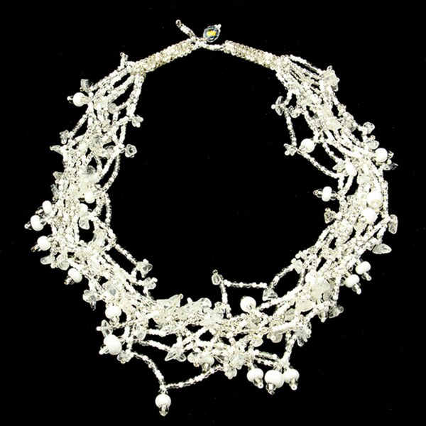 White 'Luzy Winter' Bead Necklace (Guatemala)