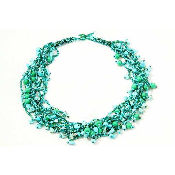 Green 'Luzy Turquoise' Turquoise and Bead Necklace (Guatemala)
