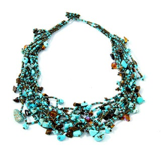 'Luzy Turquoise and Mocha' Bead Necklace (Guatemala)