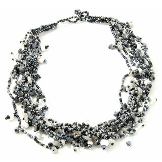 Handmade Luzy Salt and Pepper Crystal Necklace (Guatemala)