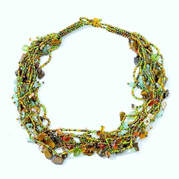Luzy Amethyst and Glass Bead 'Foliage' Necklace (Guatemala)