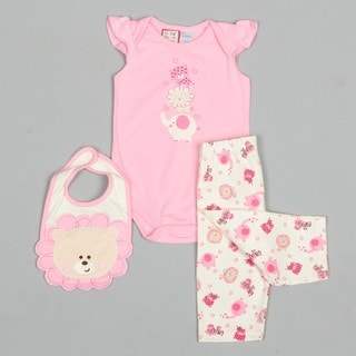 Baby Togs Newborn Girl's Lion Face Bib Printed Creeper and Pants Set