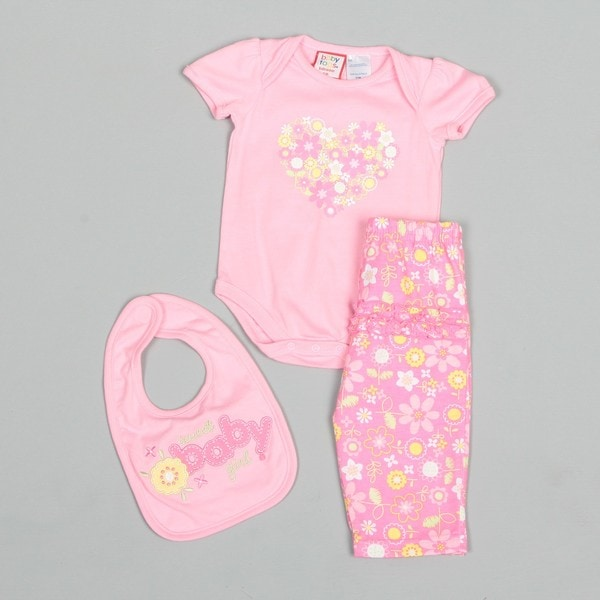 Baby Togs Newborn Girl's Baby Flowers Bib and Creeper with Floral Pants Set