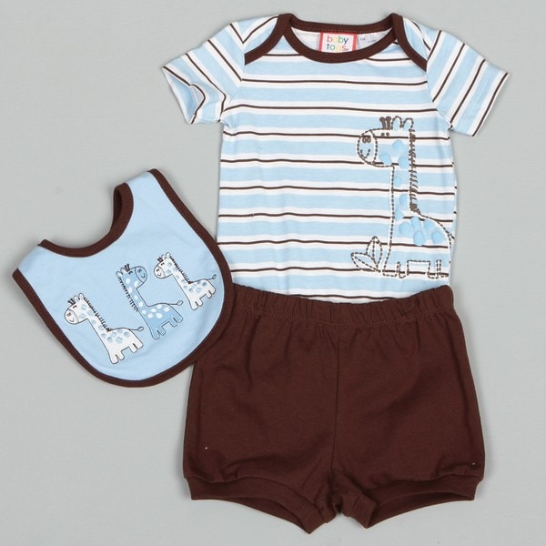 Baby Togs Newborn Boy's Stripe Creeper with Giraffe Shorts and Bib Set