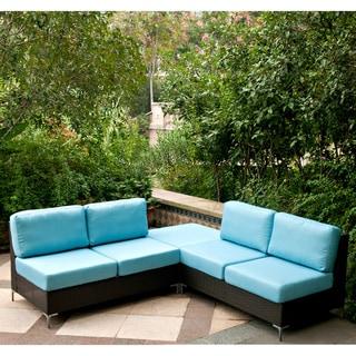 Handy Living Napa Springs Ocean Blue 3 Piece Indoor/Outdoor Wicker Furniture Set