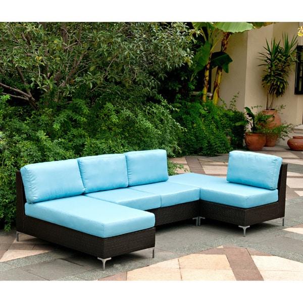 Handy Living Napa Springs Ocean Blue 4 Piece Indoor Outdoor Wicker Sectional