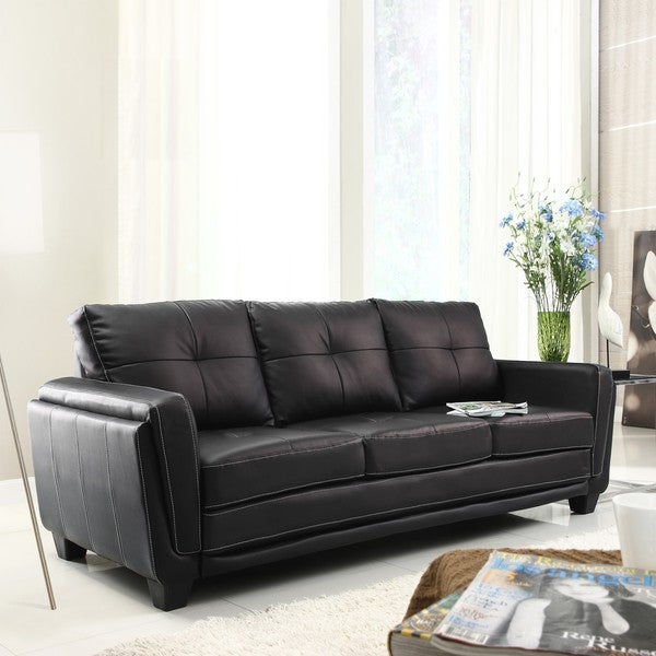 Leah Black Faux Leather Low Profile Sofa