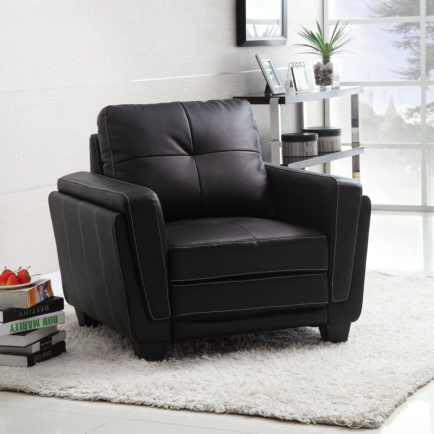 Shop Leah Black Faux Leather Low Profile Chair Free