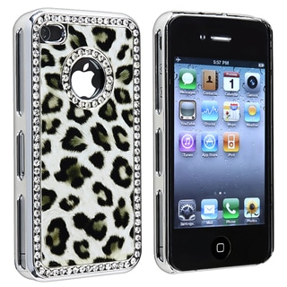 Grey Leopard with Diamond Circle Snap-on Case for Apple iPhone 4/ 4S