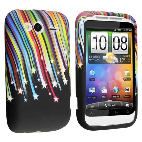 Rainbow Star TPU Rubber Skin Case for HTC WildFire S