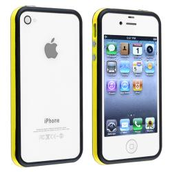 Yellow/ Black Bumper TPU Rubber Skin Case/ Buttons for Apple iPhone 4/ 4S