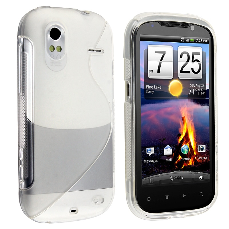 Frost Clear White S Shape TPU Rubber Skin Case for HTC Amaze 4G