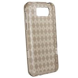 INSTEN Clear Smoke Argyle TPU Rubber Skin Phone Case Cover for HTC Titan - Thumbnail 2