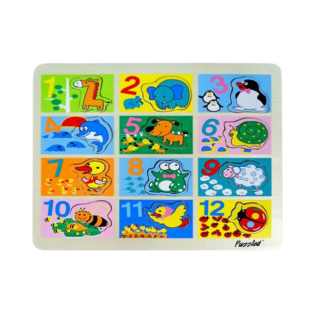 Puzzled Raised Puzzle Counting to Twelve with Animals Wooden Puzzle Toy