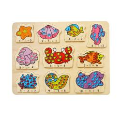 Puzzled Raised Puzzle Ocean Life Math Wooden Puzzle Toy