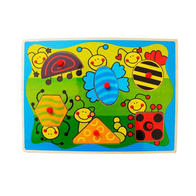 Puzzled Peg Puzzle Insects Shapes Wooden Puzzle Toy